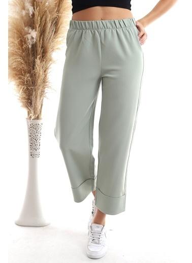 Cottonmood 20343275 Azra Beli Lastikli Duble Paça Pantolon Cagla Yesil Yeşil